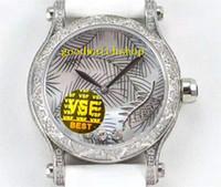 VSF 36мм 18K Gold Happy Sport Luxury женщины Часов Алмазной Женщина Часы швейцарские 9015 Автоматических 28800 VPH Sapphire пальмовых листьев Алмазного набора