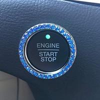 Kristal Rhinestone Araba Bling Halka Amblem Sticker, Bling Araba Aksesuarları, Başlat düğmesi, Anahtar Ateşleme Topuzu Bling Yüzük, Kadın Hediye