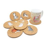 Promosyon Özel Logo Baskı Düz Yuvarlak Ahşap İçecek Kahve Fincanı Mat Isıya Dayanıklı Mantar Coaster Pad Mat Masa Dekor