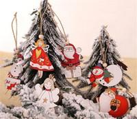 Nuovo Festa di Natale Albero Angolo Santa Snowman pendenti di legno, addobbi di Natale fai da te Legno Kids Crafts regalo per la casa Decorazioni di Natale del partito