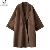 Oversize Coat Female 2020 Autumn Women Woolen Coat Big Pocke...