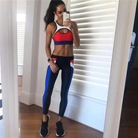 Tracksuit Women 2 PCS Yoga Set Patchwork Color Block Running...