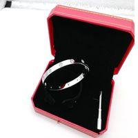 2019 pulsera de plata del amor de acero de titanio rosa brazalete de oro de los brazaletes de las mujeres de los hombres pulsera destornillador joyas pareja con el bolso rojo sin caja