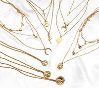 Bohemian multi camadas Mulheres Colar Gargantilha Vintage da cor do ouro Estrela de cristal lua colar Collares Declaração Jóias