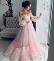 A- line Sweetheart Off Shoulder Long Sleeves Evening Dresses ...