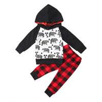 0-24 м детские 2 шт. комплект новорожденный малыш мальчик мультфильм толстовка толстовка топ + клетчатые брюки наряд Рождество детская одежда