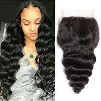 Bella Hair Малайзийские кружевные замыкания Свободные волны Девы Человеческие волосы Weaves Свободная часть с Baby Bair Топ-закрытие 4x4 Натуральный Цвет 8-26 дюймов