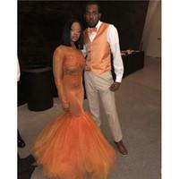 Africano arancione 2019 sirena promuovi abiti a maniche lunghe New Lace Applique Applique Beaking Tull Illusion Collo alto Dress da sera Abito da sera Abiti da festa