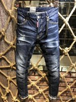 New⠀dsquared2⠀dsquared⠀dsq⠀Hole Pierre Rock Biker Jeans Men Ripped Denim  Tearing Trousers Black Mens Jeans Pants Ruched A202 995122049bf3