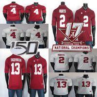 2019 Alabama Crimson Tide Jerseys 2 dói Jersey Tagovailoa 13 Jeudy 4 NCAA de futebol vermelho Jersey costurado 150 ANOS