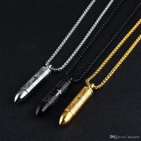 Collier Bullet pour les amoureux pendentif en acier inoxydable bijoux Croix colliers chaîne Bible chrétienne colliers Punk Rock bijoux