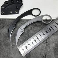 야외 EDC 캠핑 사냥 서바이벌 손가락 반지 전술 포켓 클로 Karambit 나이프 커터 나이프 W / K 칼집
