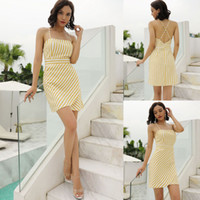 Trendy2019 Vacation On Suit- dress Lemon Yellow Vertical Stri...