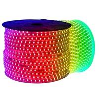 Tiras LED regulables de 110V 220V 10m 50m 100m de alto voltaje SMD 5050 RGB LED Tiras Luces impermeables + IR Control remoto + Fuente de alimentación