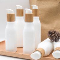 Bamboo Lotion Kappe Creme Sprühflasche 120ml 100ml 4 Unzen Glas Opal Weißes Porzellan Glas Pumpflasche Bambus kosmetische Behälter