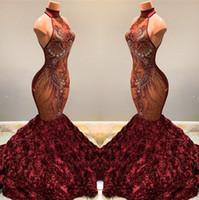2020 Partido desfile de las flores de Rose magnífico Borgoña sirena vestidos de baile de cuello alto de encaje con cuentas apliques 3D Vestidos Vestidos BC1181