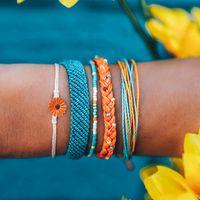 Boho VSCO menina Pulseiras Set por Mulheres Amizade pulseira artesanal trançado de Cordas Daisy corda bracelete frisado Praia Bangle conjuntos de jóias de presente