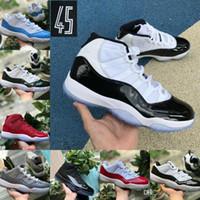 Baratos 11 11s tênis de basquete Sneakers Bred Concord Space Jam Platinum Tint Playoffs Blackout Red 2020 Chegada Nova Homens Mulheres Formadores Sapatos