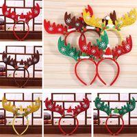 Boże Narodzenie Renifer Jeleń Opaski Dekoracje Zespoły Do Włosów Czerwony Snowflake Pałąk Pałąk Wakacyjny Party Birthday Party Supplies XD21834