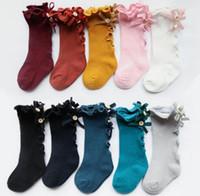 Candy Colors Baby Kinder Socken Neue Mädchen Große Bogen Gestrickte Knie Hoch Lange Weiche Baumwolle Spitze Socken Baby Ruffle Socken