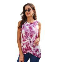 Womens Leggero Summer Summer Casual Collo Tank Tops Comfort Tintura Tunica stampa senza maniche T-shirt da croce
