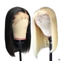 13x4 613 Honey Blonde et 1B Natural Black Bob Perruques Lace Frontal Remy perruques de cheveux humains courte Glueless Bob Nœuds Blanchis perruque 150%