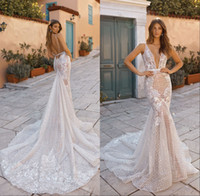 Sparkly Sequins Boho Mermaid Wedding Dresses 2019 Deep V Nec...