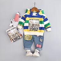 Frühling und Herbst Kleinkind Anzug Baby-Kleidung stellt in New York 1982 Kinder Jungen Mädchen-Kleidung-Kind-Baumwoll Hoodies Hosen 2 PC / Sätze