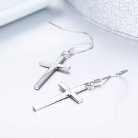 Твердые 925 fashion-серьги крюк Sterling Silver Cross падение мотаться для женщин девушки ювелирных изделий подарка Pendientes Арос Oorbellen Orecchini