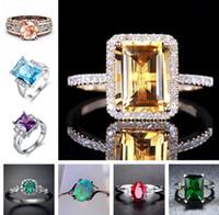 Solitaire Anéis Sumptuoso 18k Rose Gold Brilhante Diamante Topázio Roxo Shinning Emerald Opala Rosa Promessa Anel Banda Anéis para Mulheres Menina Jóias