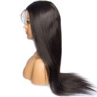 Cordón lleno con pelucas de cabello humano Europeo de pelo recto del cordón lleno con Thin Skin perímetro de la peluca de mujer Negro envío