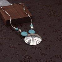 Colares pingentes Tophanqi Bohemian Vintage Sliver Spiral Colar Redondo Para As Mulheres Meninas Tibetanas Jóias Azul Natural Stone Chain