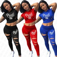 Women Summer Clothes Tracksuit Sexy Crop Top + Holes Legging...
