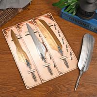 Pena De Prata De Ouro Mergulhando Quill Pen Set Survival Pen Presente de Negócios Novela Presente de Aniversário Retro Caneta Assinatura WJ085