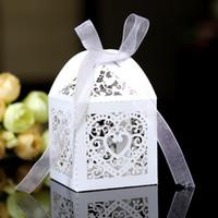 Düğün Favor Sahipleri Şeker Poşetler Kağıt ile Kalpler Kurdele Hollow Lazer Kesim Düğün Hediyelik Kutular BW-XTH-27