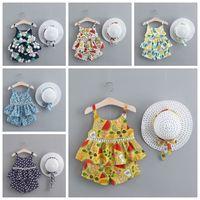 La muchacha de flor de los bebés Trajes Pantalones cortos tapas florales sombrero 3pcs de la liga de ropa del niño determinado del verano Ropa de bebé 7 Diseños DHW3884