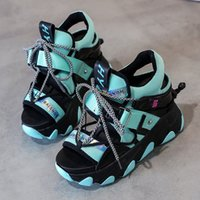Leisure Lady Platform Chunky Sandals Mixed Color Lace Up Buckle Punk Sandals Women Open Toe Beach Casual Shoes Woman A340