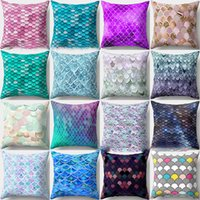 Mermaid fish scale pillowcase Cover Glamour Square Pillow Ca...