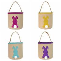 Jüt Sequins Tavşan Çanta Mutlu Paskalya Pullarda Tavşan çuval bezi Basket Çocuk Şeker Yumurta Çanta Paskalya Ev Dekorasyonu Çocuk Çantalar CCA11945c 50pcs