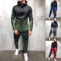 ZOGAA 2018 Brand Men Tuta 2 pezzi Set 3D Gradient Felpe con cappuccio casual Felpa e pantaloni Sportswear Joggers Set da uomo