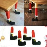Оптовая 4 шт. / компл. симпатичные Рождество Санта-Клаус стул стол Стол ноги ноги охватывает Главная фестиваль украшения Бесплатная доставка