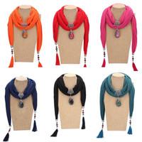 All'ingrosso New Fashion Beads Frange Peacock Pendant Scarf Ladies Soild Sciarpa di colore Nappa Wrap Collana Sciarpa nazionale Accesso donne
