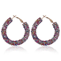 1 Pair New Women's Austrian Rhinestone Crystal Earring Big Circle Hoop Earrings Shiny Round Ear Glitter Geometric Jewelry
