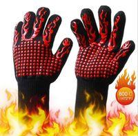 Celsius calore guanti resistenti al calore Resistente grigliatura Guanti cottura Barbecue Forno Mittens 500 gradi centigradi Prevenzione incendi Bakeware CFYZ26Q