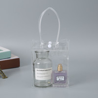 مربع أكياس شفافة العالمي PVC حقيبة مع زر للتسوق مستحضرات التجميل حقائب لينة PVC مقبض Pounch التخزين أكياس GGA2382