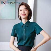 Damskie Bluzki Koszule Panie Biurowe Wear Wear 2021 Lato krótki rękaw Styles Bluzka Biznes Kobieta Topy Czarno-zielony