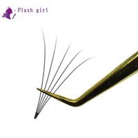 Venta al por mayor Flash girl 5D Fans de volumen prefabricados Extensiones de pestañas hechas a mano Fans prefabricados 0.07 mm C rizado Corto tallo Belleza Pestañas postizas