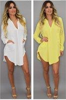 Frauen-Sommer-Strand-Chiffon- Kleid-beiläufige lange Hülsen-Minipartei-Blusen-Hemd-Kleider plus Größe Freies Verschiffen