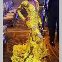 Yellow See Through Lace Prom Dresses With Feathers Deep V Ne...