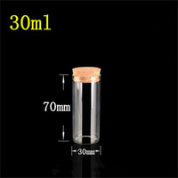 30*70mm 30ml Glass Vials Jars Test Tube With Cork Stopper Em...